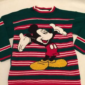 Vintage Mickey Unlimited  Striped Holiday Sweater